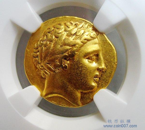 古希腊马其顿/太阳神阿波罗头像金币图片